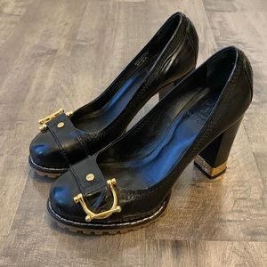 Tory Burch Black Patent Leather Heels Size 5.5